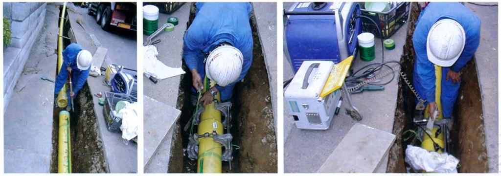 ガス用PE管配管作業現場例